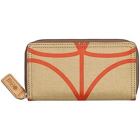 Orla Kiely Matt Laminated Giant Linear Stem Print - Big Zip Wallet - Stone Orange