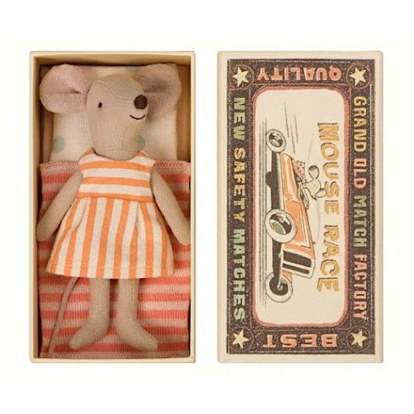 Maileg Mouse - Big Sister in Box - Orange Stripe Dress