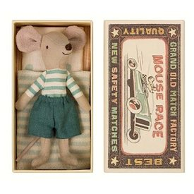 Maileg Mouse - Big Brother in Box - Stripe Shirt/Teal Trouser