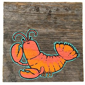 Mermaid Meadow Barnboard Lobster - 4x4