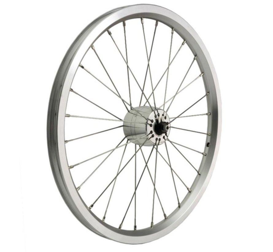 Brompton DYNO wheel, SON XS hub, silver rim, Sapim spokes