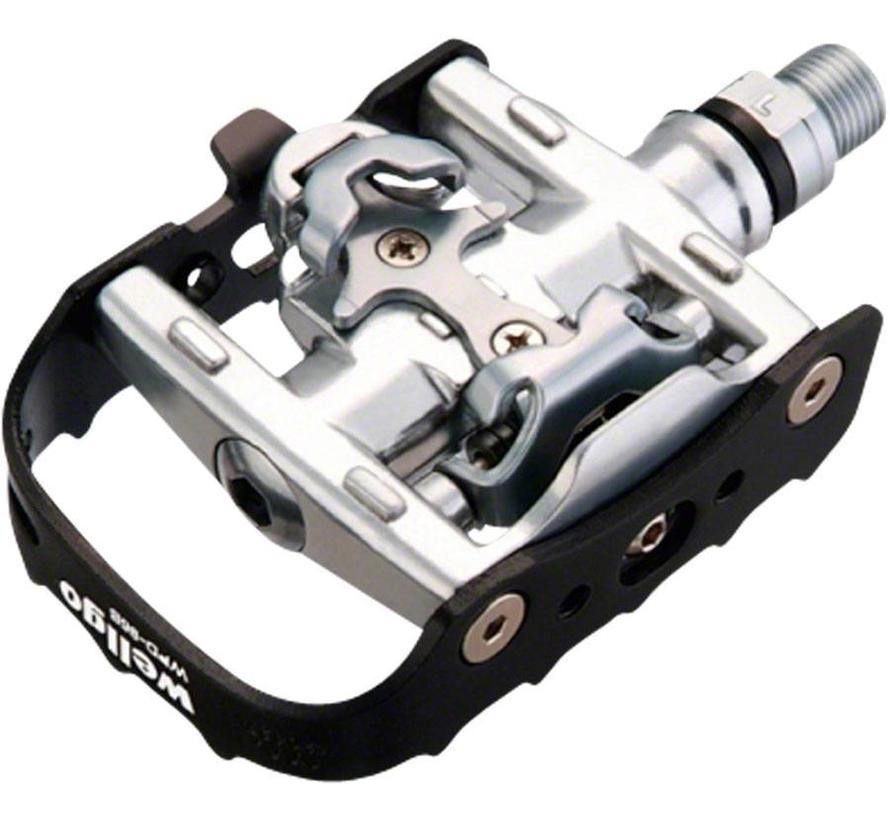 Wellgo WPD-95B Clipless/Clip Pedals Black/Silver