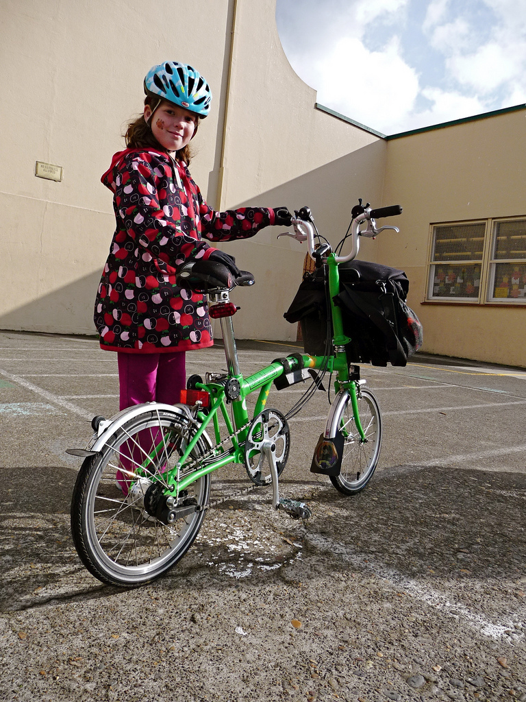 Kate and her Brompton