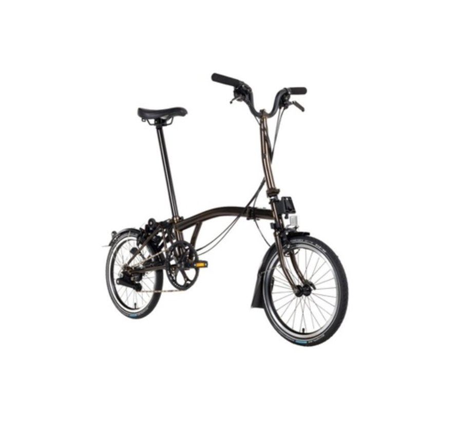 H6R Black Edition Brompton Folding Bike, Raw Lacquer
