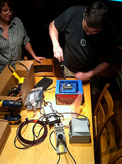 Trying to fix the battery the night before the event