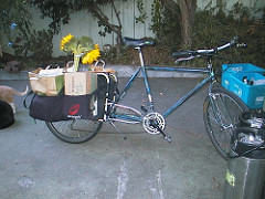 Xtracycle hauling flowers