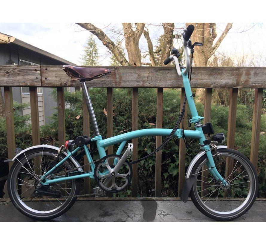 Used Brompton M6L Folding Bike, Turkish Green