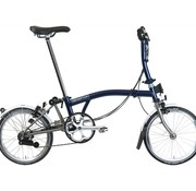 Brompton Brompton S6LX Superlight Titanium Folding Bike, Tempest Blue