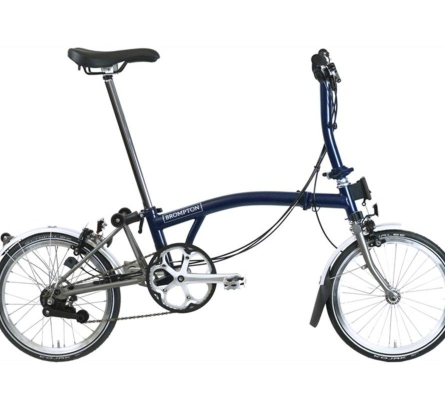Brompton S6LX Folding Bike, Tempest Blue, Superlight