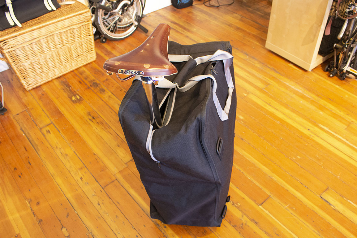 Brompton Travel Bag, seatpost, and Brooks saddle