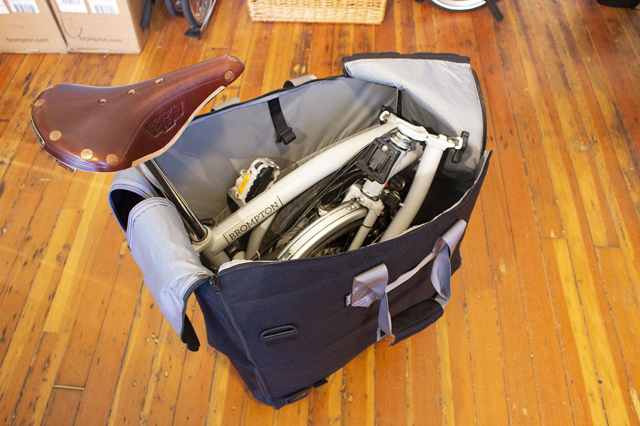 Brompton Travel Bag with Brompton folding bike in it