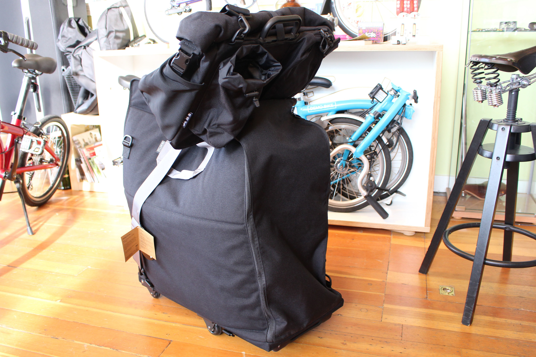 Brompton Travel Bag with Brompton T Bag attached