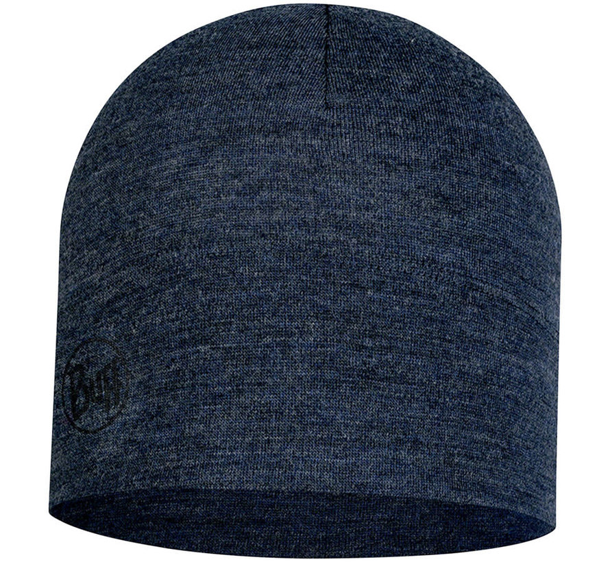 Buff Midweight Merino Wool Hat, Night Blue Melange