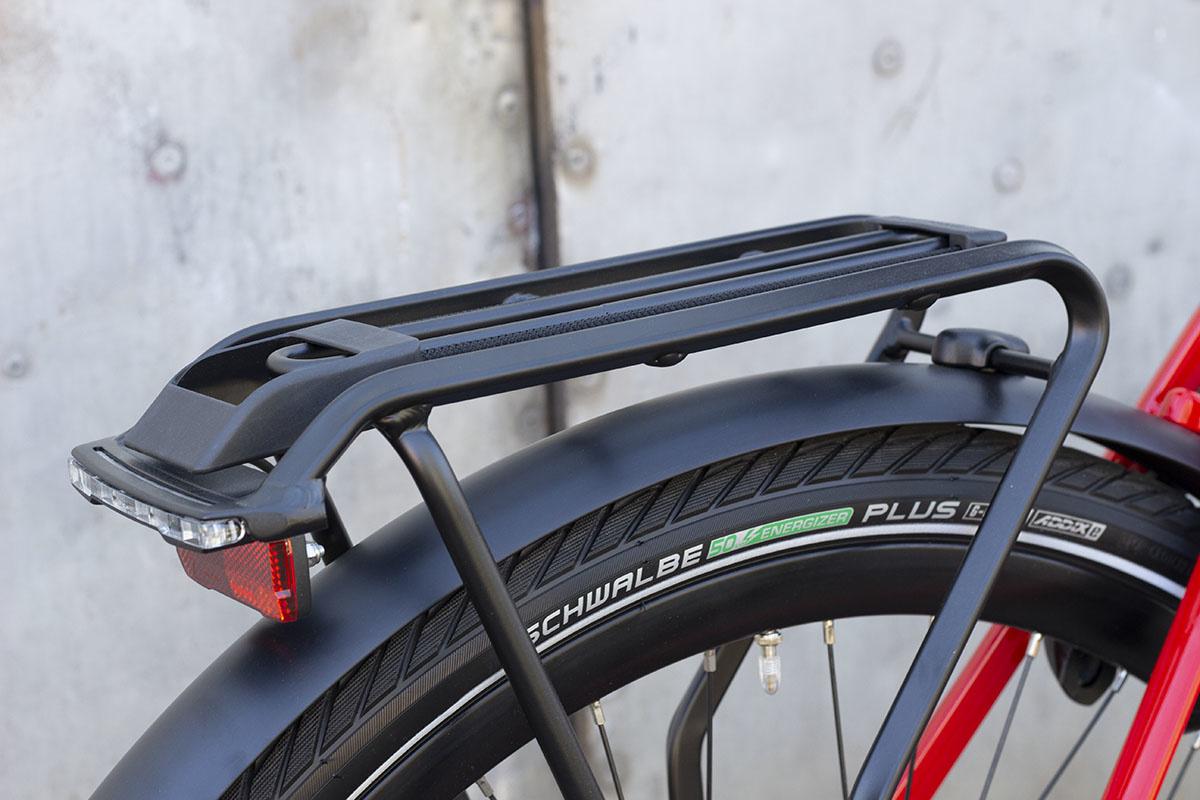 Rear rack on an ebike