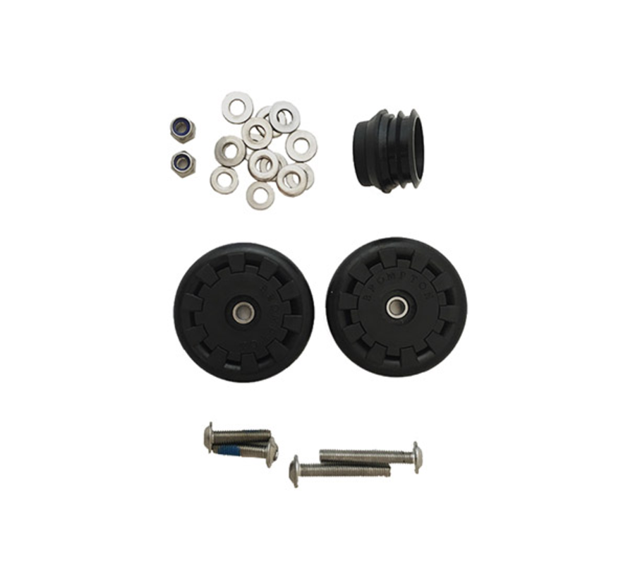 Brompton Eazy Wheel Rollers With Fittings for Version L, R, or E Pair - QEZWSET-LE
