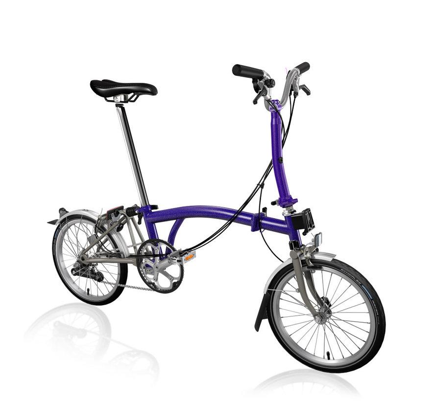 Brompton M6LX Superlight Titanium Folding Bike, Purple Metallic