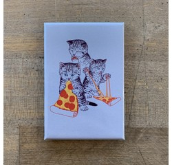 Ephemera Magnet - Kitties Eating Pizza