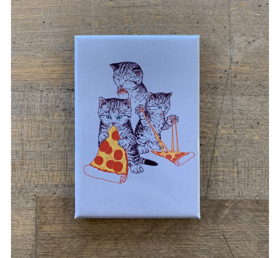 Magnet - Kitties Eating Pizza