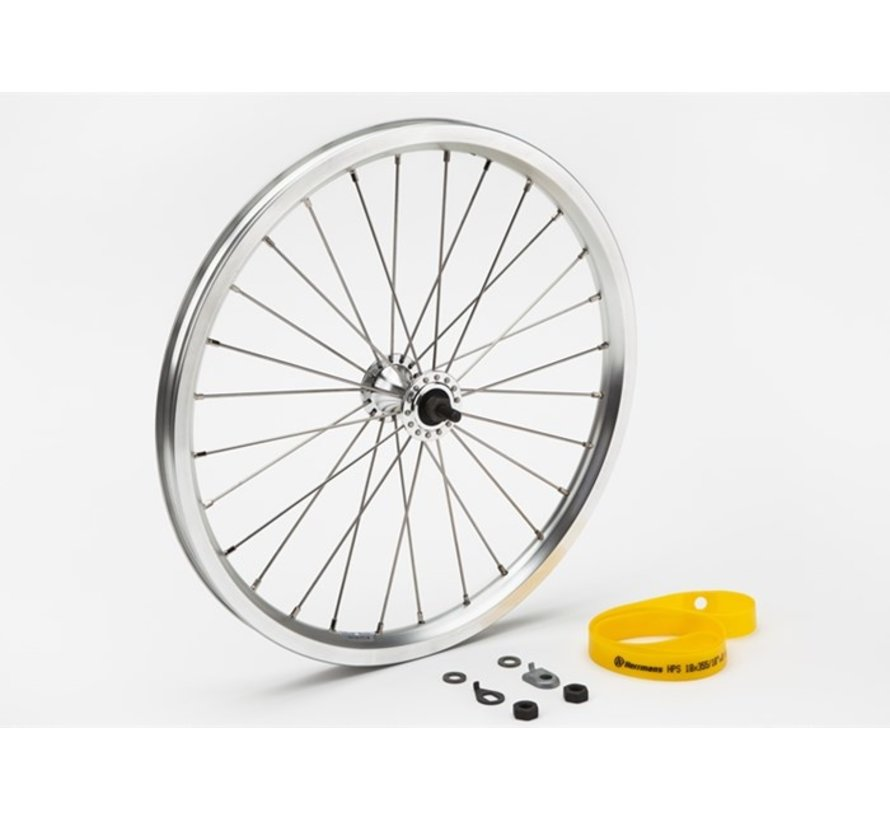 Brompton Front Wheel Radial Lacing Includes Fittings for Standard Bikes Silver - QFWSS