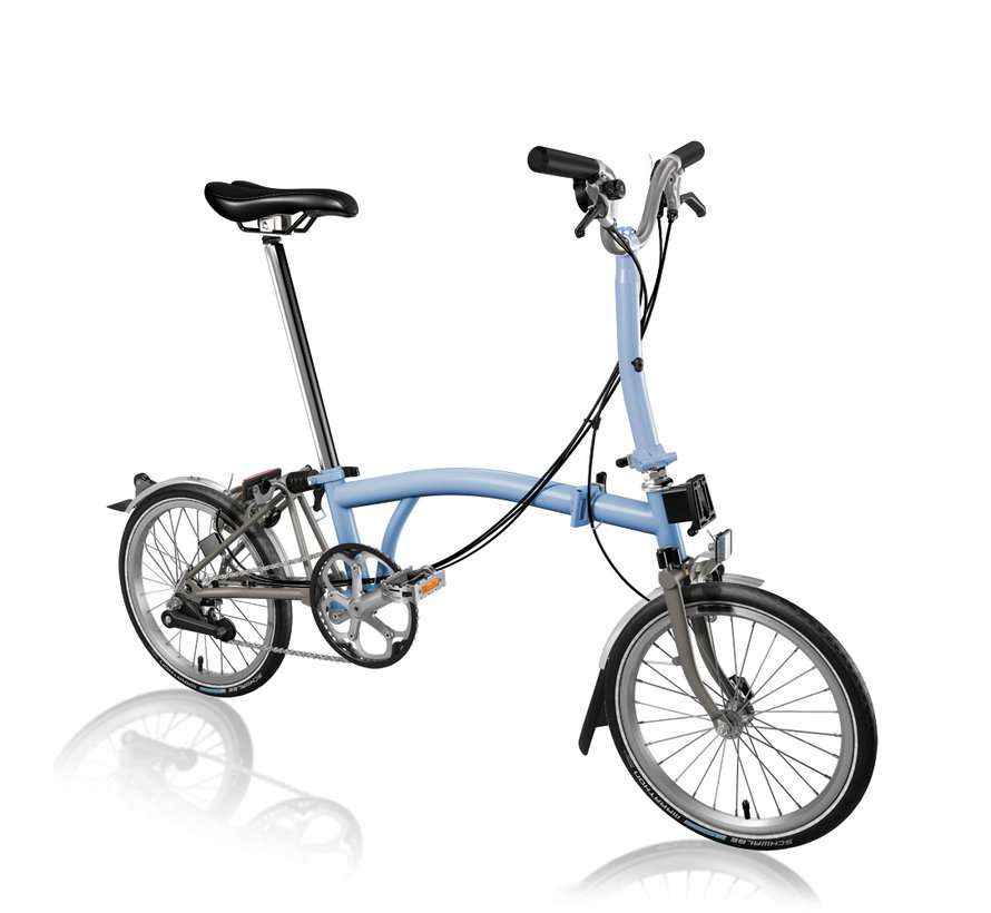 Brompton M6LX Superlight Titanium Folding Bike, Cloud Blue