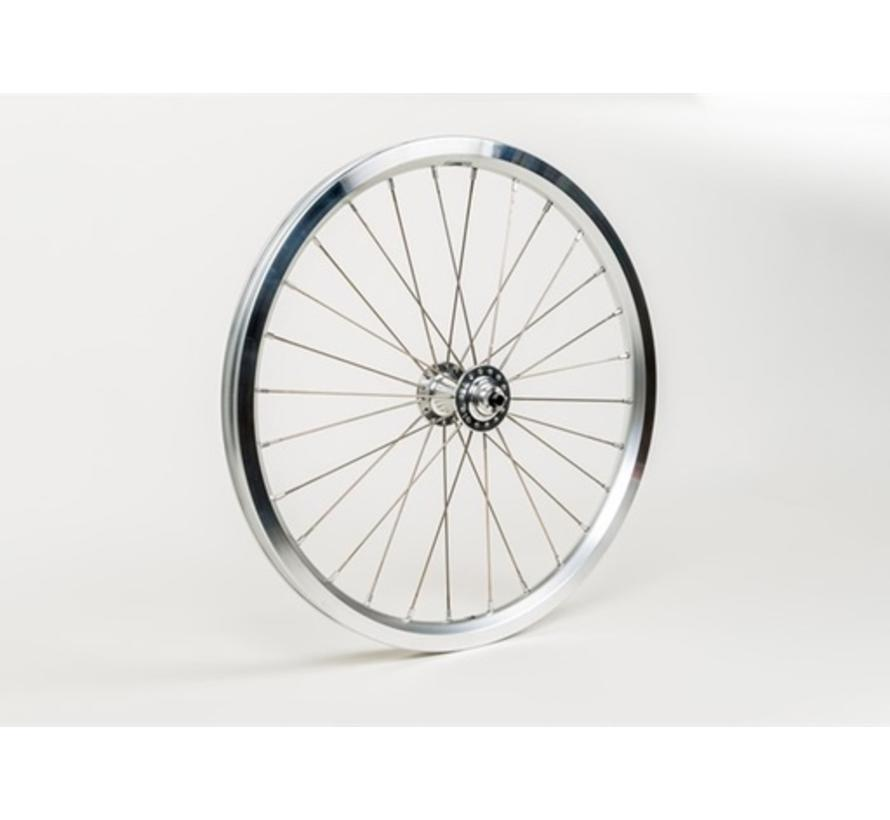 Brompton Front Wheel Radial Lacing Includes Fittings for Superlight Bikes Silver - QFWSS-SL