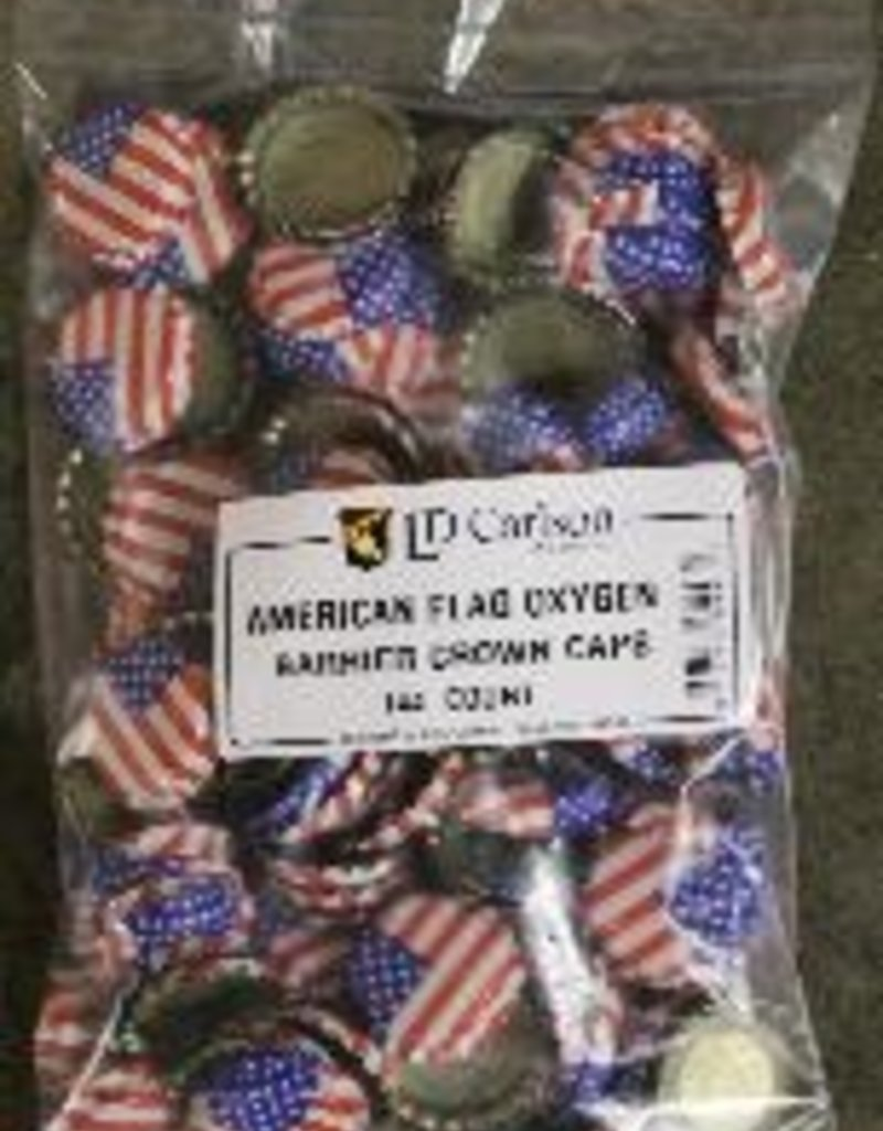 AMERICAN FLAG CROWN CAPS WITH OXY-LINER 144/BAG