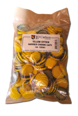 YELLOW CROWN CAPS WITH OXY- LINER 144/BAG