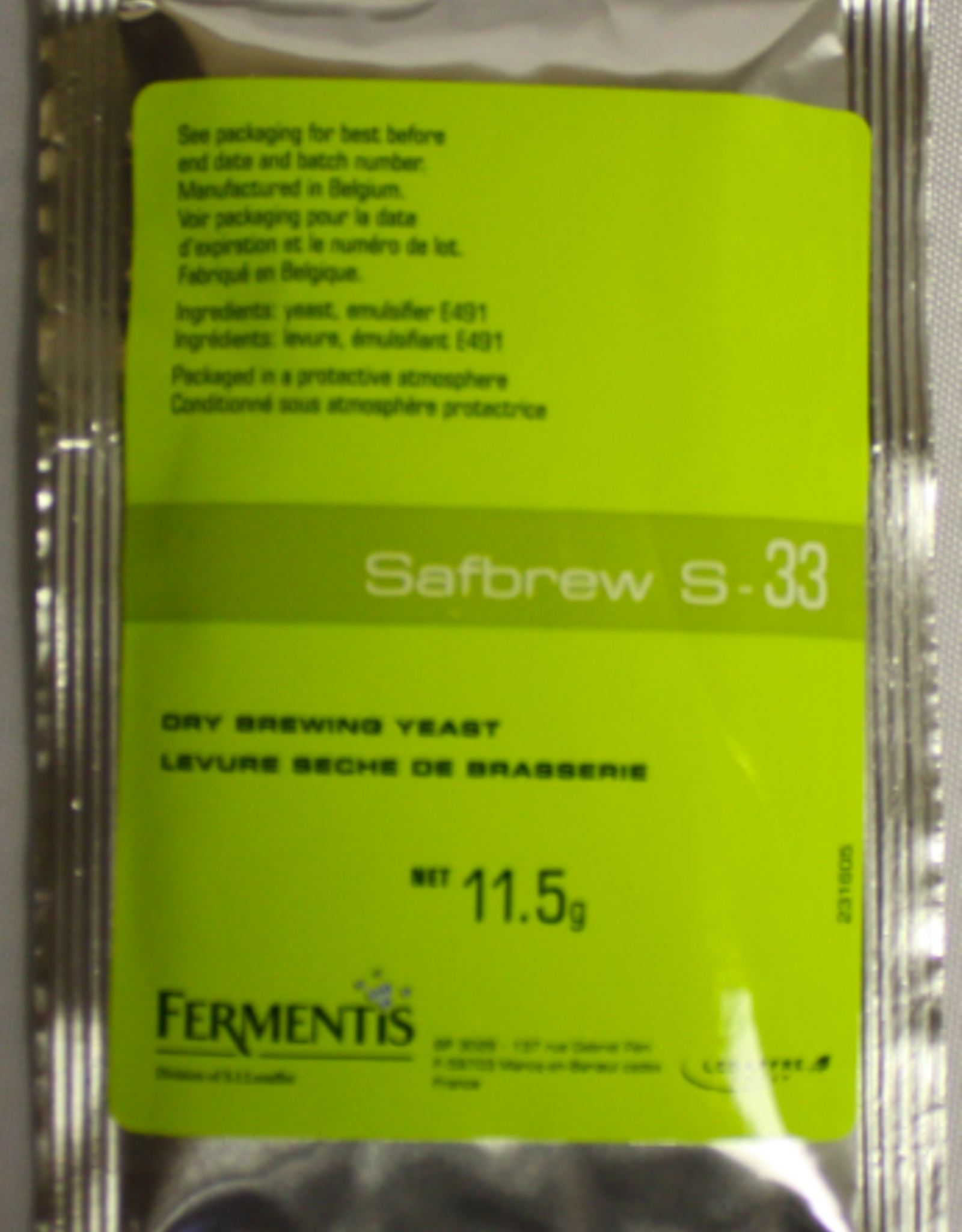 SAFALE S-33 DRY BREWING YEAST 11.5 GRAMS