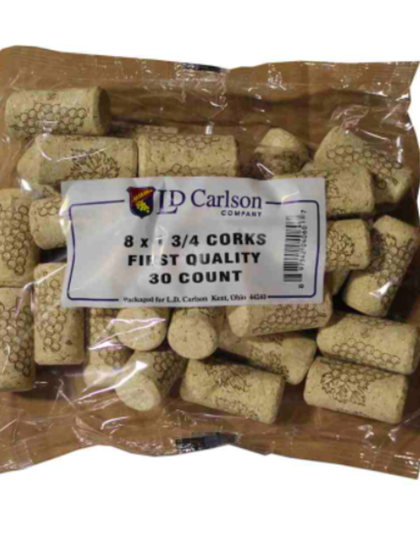 8X1 3/4 FIRST QUALITY STRAIGHT WINE CORKS 44 X 22mm 30/BAG