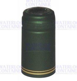 GREEN METALLIC GOLD STRIPE PVC SHRINK CAPSULES 30 COUNT