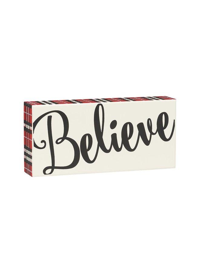 BOX SIGN PLAID BELIEVE