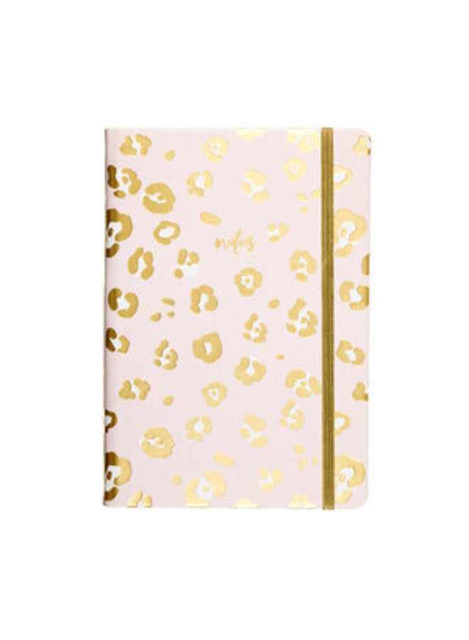 PINK AND GOLD LEOPARD JOURNAL WITH ELASTIC