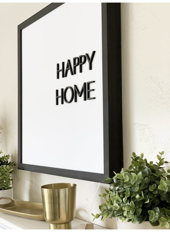 HAPPY HOME RAISED LETTERS MAGNET BOARD EBONY 24X24