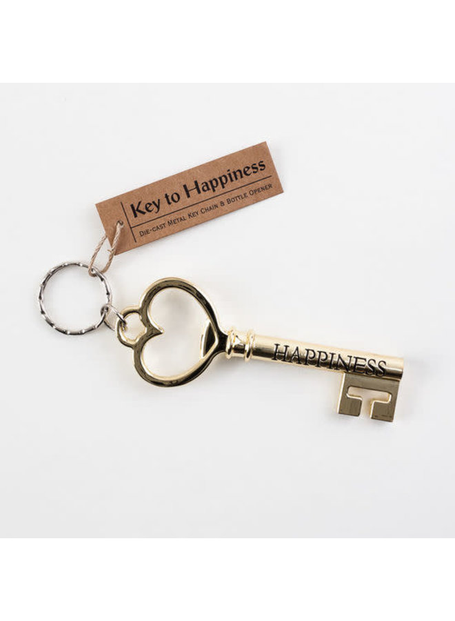 THE KEY TO HAPPINESS KEY RING & BOTTLE OPENER