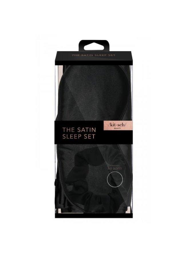 SATIN SLEEP SET - BLACK