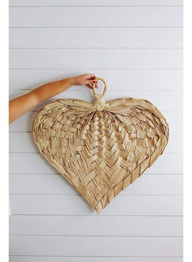 HAND WOVEN PALM HEART SHAPED FAN