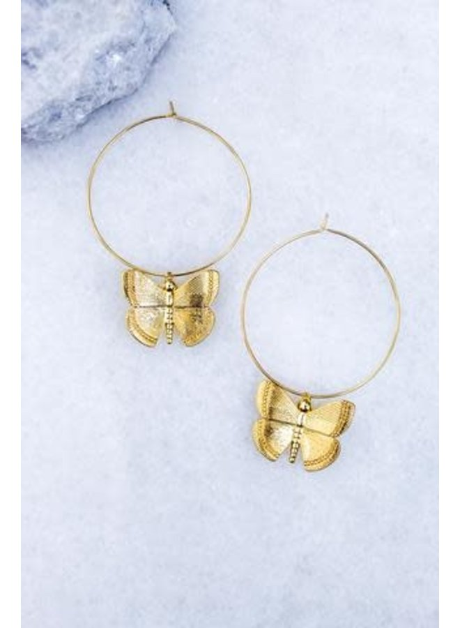 ASPIRE HOOP W BUTTERFLY CHARM 16K GOLD PLATED