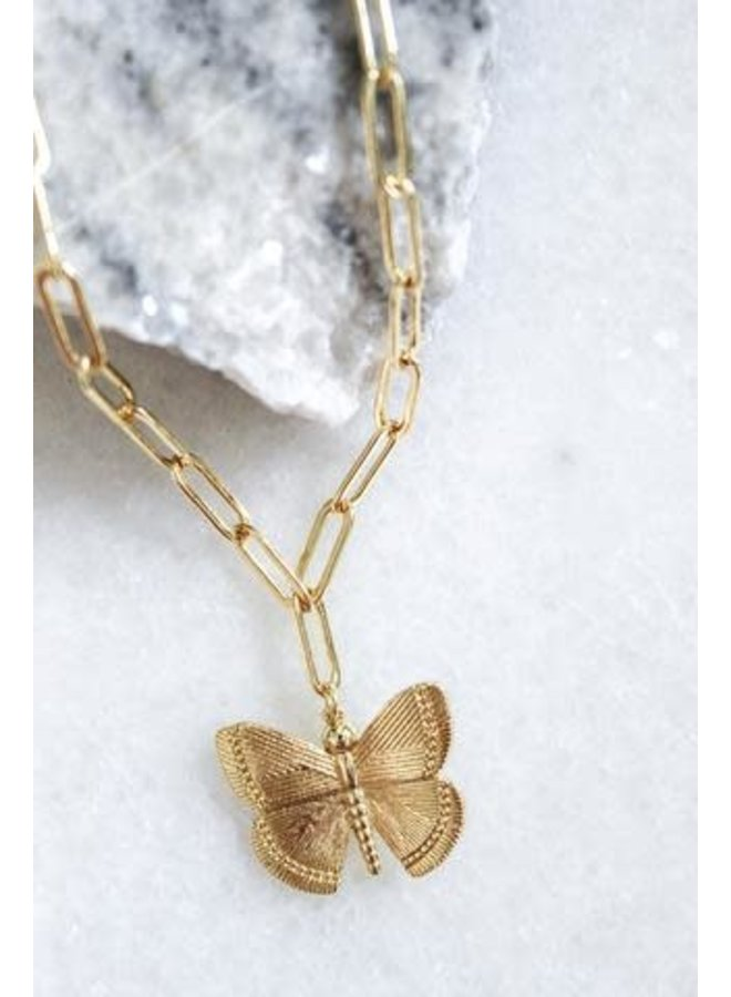 ASPIRE GOLD FILLED BUTTERFLY PENDANT NECKLACE