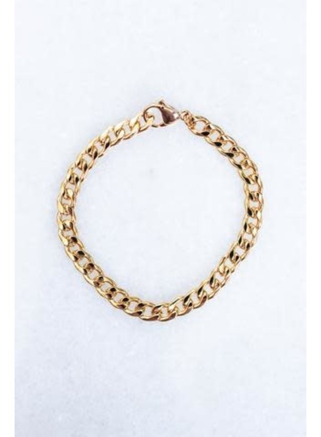 """MOXIE CHAIN BRACELET GOLD PLATED 7"""""""
