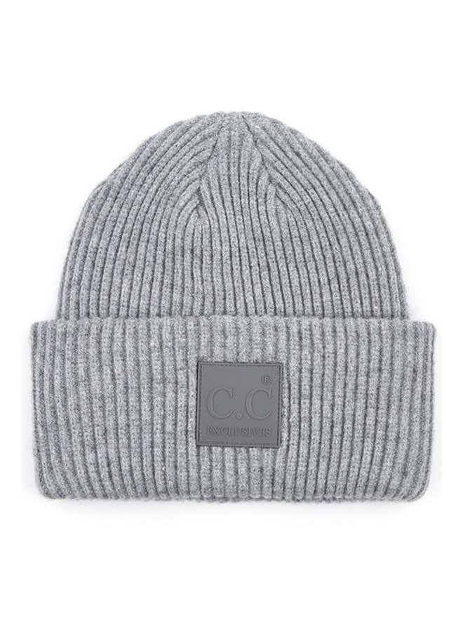 KARLA C.C. SOLID RIBBED KNIT BEANIE