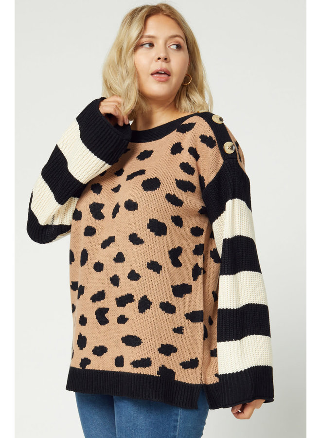 NORA LEOPARD PRINT PULLOVER SWEATER WITH STRIPED SLEEVES