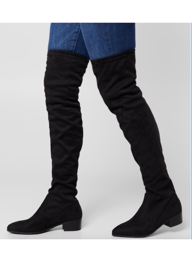 LULU OVER THE KNEE BOOTS BLACK