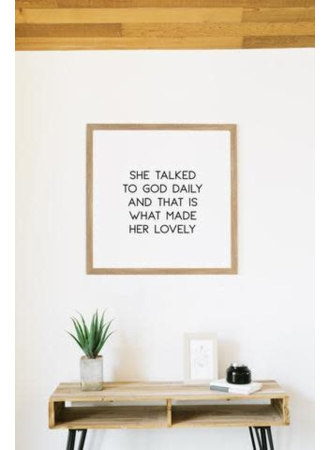 SHE TALKED TO GOD DAILY WALL ART RUSTIC BROWN 16X16