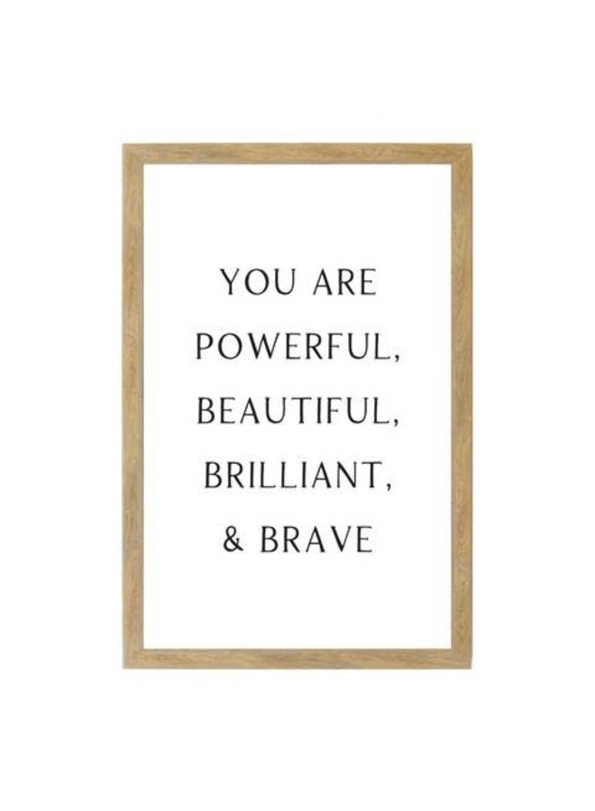 LARGE YOU ARE POWERFUL WALL ART RUSTIC BROWN 24X32