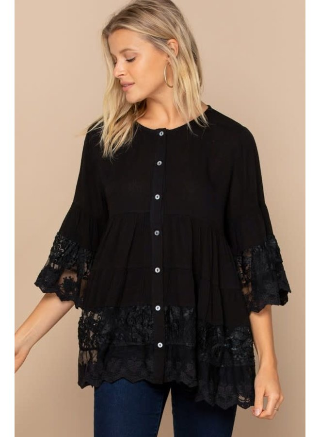 JENNY BUTTON DOWN BLOUSE WITH LACE