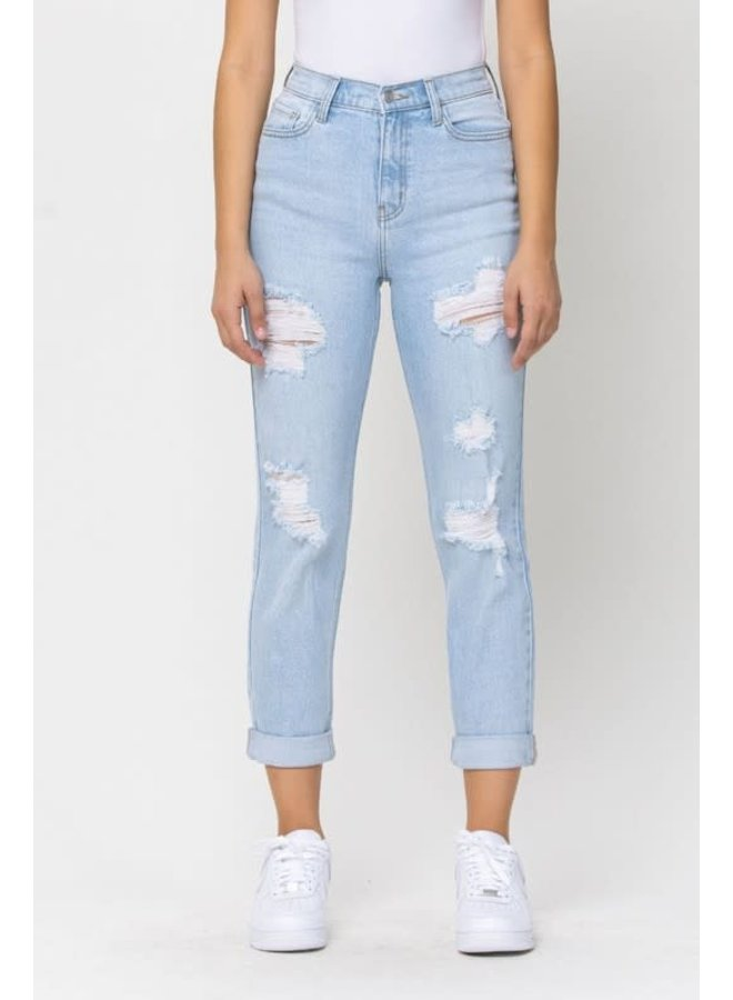 TERRENCE HIGH RISE DISTRESSED MOM JEAN SKINNY
