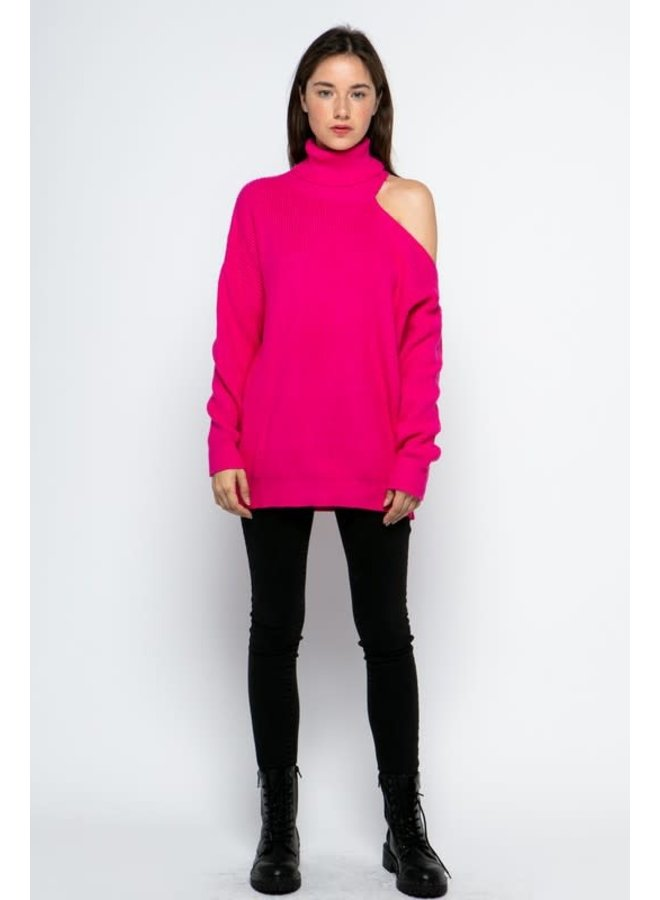 LINLEE HOT PINK TURTLENECK SWEATER WITH SHOULDER CUTOUT