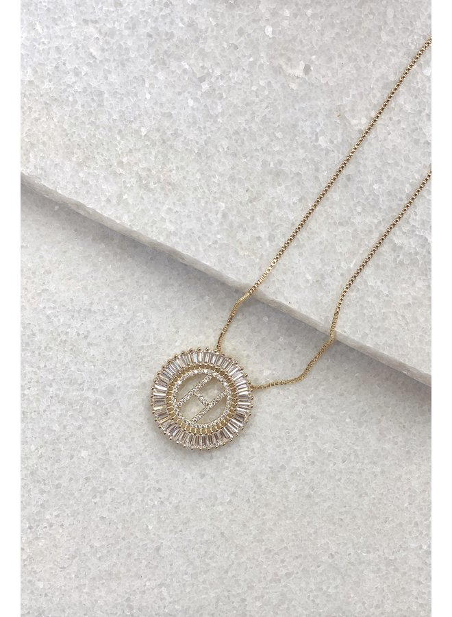 GOLD FILLED CIRCLE INTIAL NECKLACE