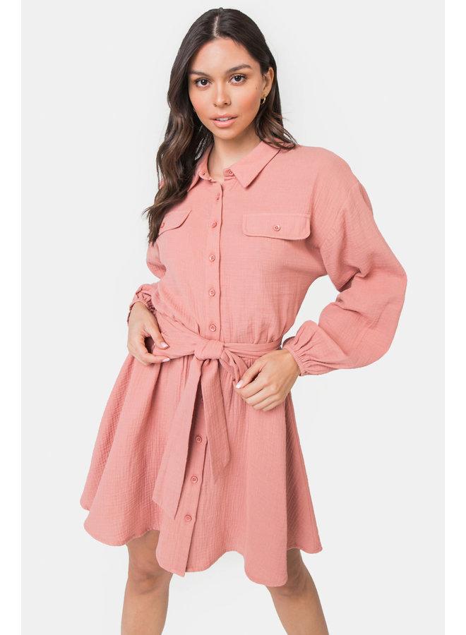 ROSALIE BUTTON DOWN SHIRT DRESS