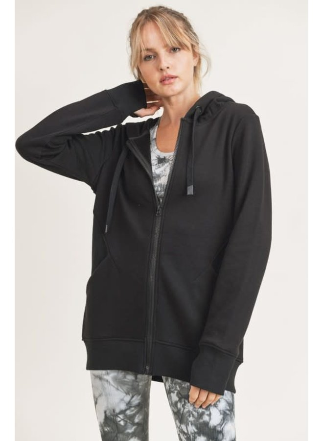 TERRY-KNIT HOODIE WITH THUMBHOLES